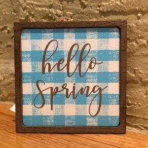 FARMHOUSE TIER TRAY BLUE PLAID SPRING SIGN